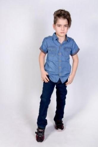 پیراهن جینز پسرانه 110204 سایز 3 تا 12 سال مارک WAXY KIDS
