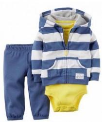 ست سه تکه پسرانه سویشرت زیردکمه دار و شلوار 110630 سایز 6 تا 24 ماه کد 1 مارک Carters