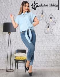 بلوز جینز کاغذی زنانه قواره بزرگ 401636