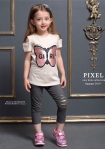 بلوز و ساپورت دخترانه طرح پروانه مارک pixel کد 6000620