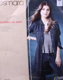 مانتو جینز کاغذی زنانه 10681 سایز 36 تا 46 مارک ESMARA