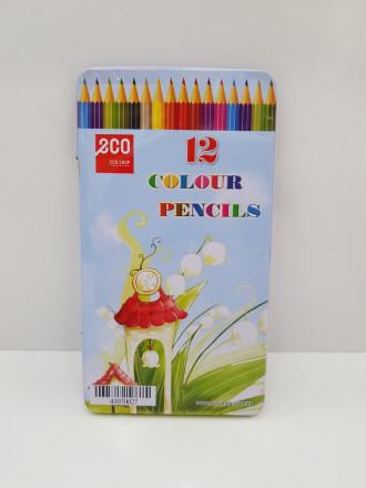 مداد رنگی جعبه فلزی 12 عددی 404507