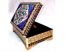 جعبه جواهر خاتم کاری طرح گل و مرغ کد 220025