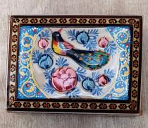 جعبه خاتم کاری طرح گل و مرغ ۸×۱۱ کد 220039