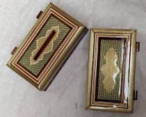 جعبه کلینکس و جاکاردی خاتم طلایی کد 220062