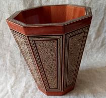 سطل چوبی  ۲۵ سانتی خاتم تخمه دار کد 220098