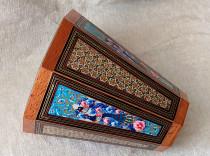 سطل چوبی خاتم و گل و مرغ  ۲۵ سانتی کد 220097
