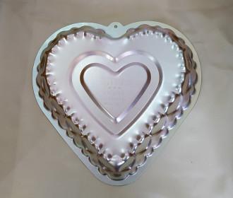 قالب کیک آلمنیوم طرح قلب بزرگ طرح دو کد 220378