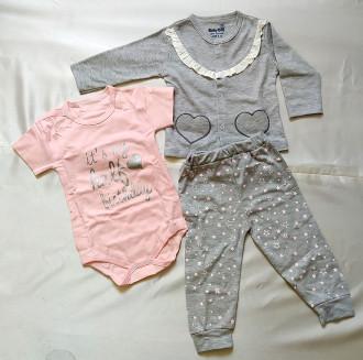 لباس سه تیکه کودک مدل صورتی ستاره ای کد 2204035