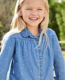 پیراهن جینز دخترانه 2204224سایز 2 تا 14 سال مارک VERT BAUDET