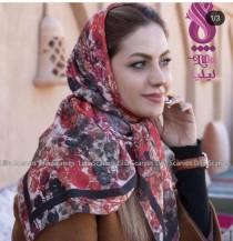 روسری قواره 100 چاپ دیجیتال پارچه نخی بهاره طرح آبرنگی کد 2320001