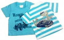 تی شرت آستین کوتاه پسرانه 15212 سایز 3 ماه تا 2 سال مارک impidimpi بسته دو عددی