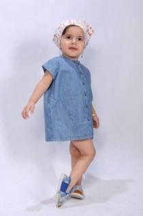 پیراهن جینز دخترانه 100957 سایز 2 تا 6 سال مارک H&M